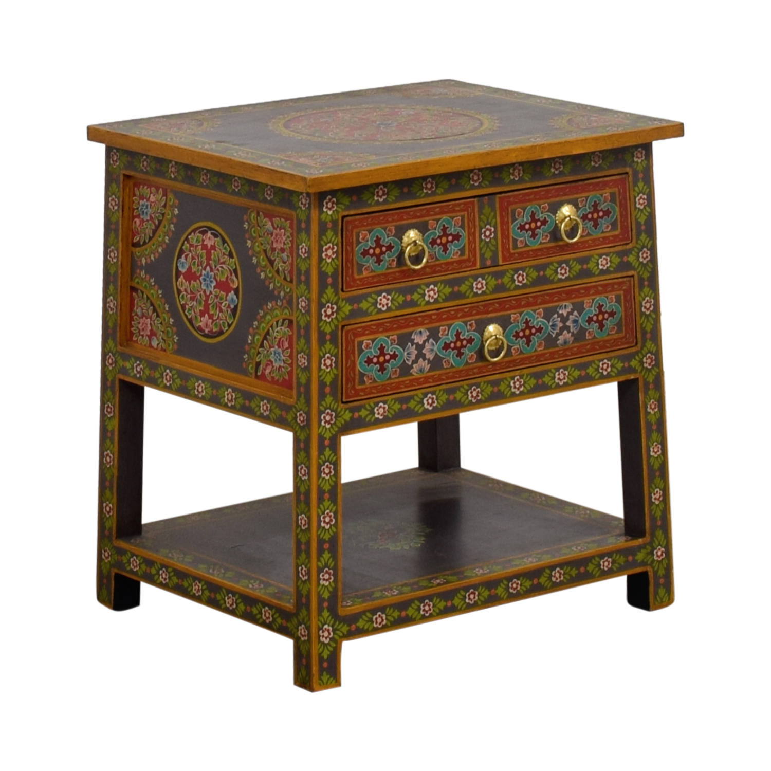 off world market wood floral painted two drawer accent table second hand tables piece glass set inch round plastic tablecloths small end outdoor battery lamps furniture french