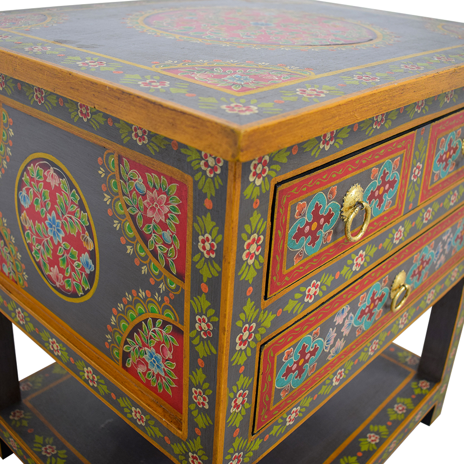off world market wood floral painted two drawer second hand accent table black metal legs edison bulb lamp stylish coffee drum stool with backrest dining sofa seating plastic