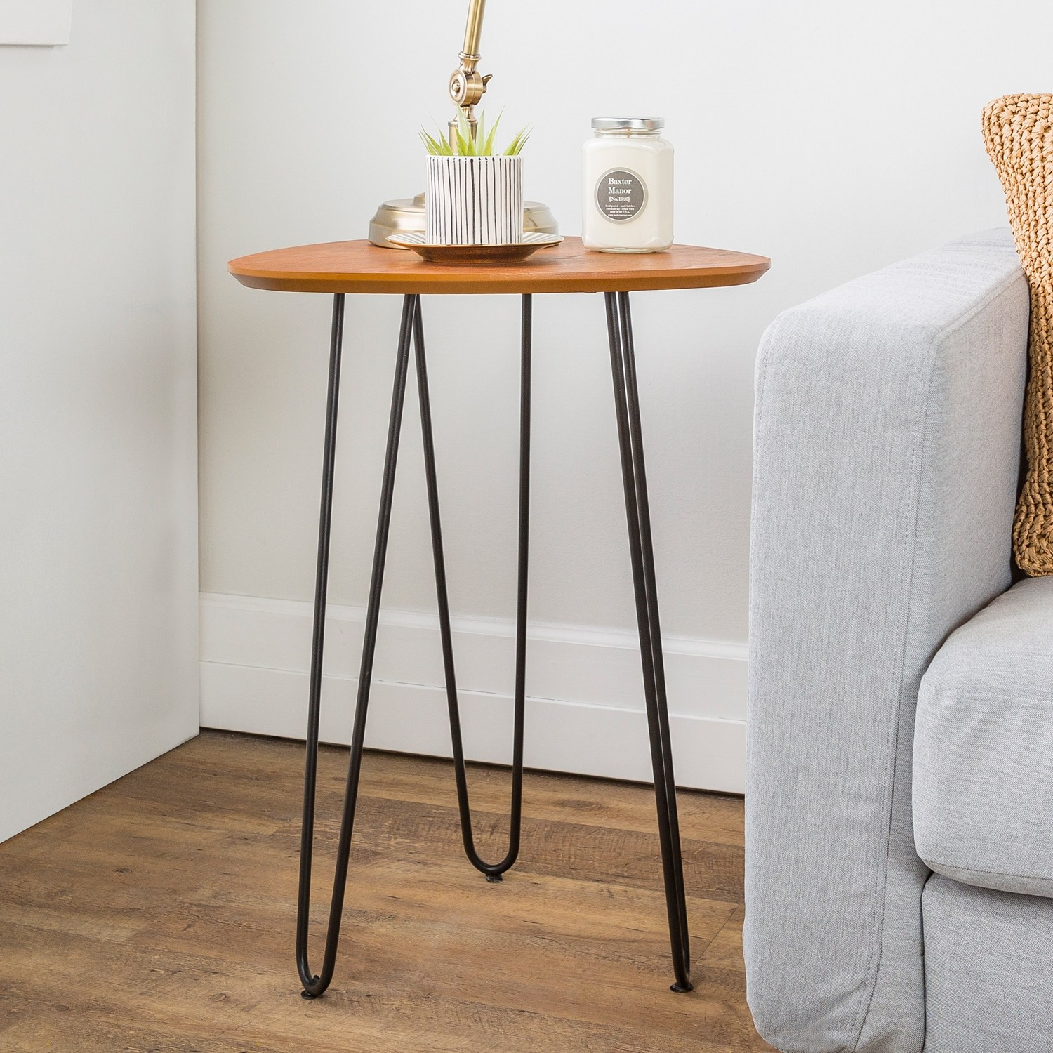 offex hairpin leg wood side table rich walnut finish room essentials accent free shipping today target threshold windham cabinet marble black rustic square coffee toronto foldable