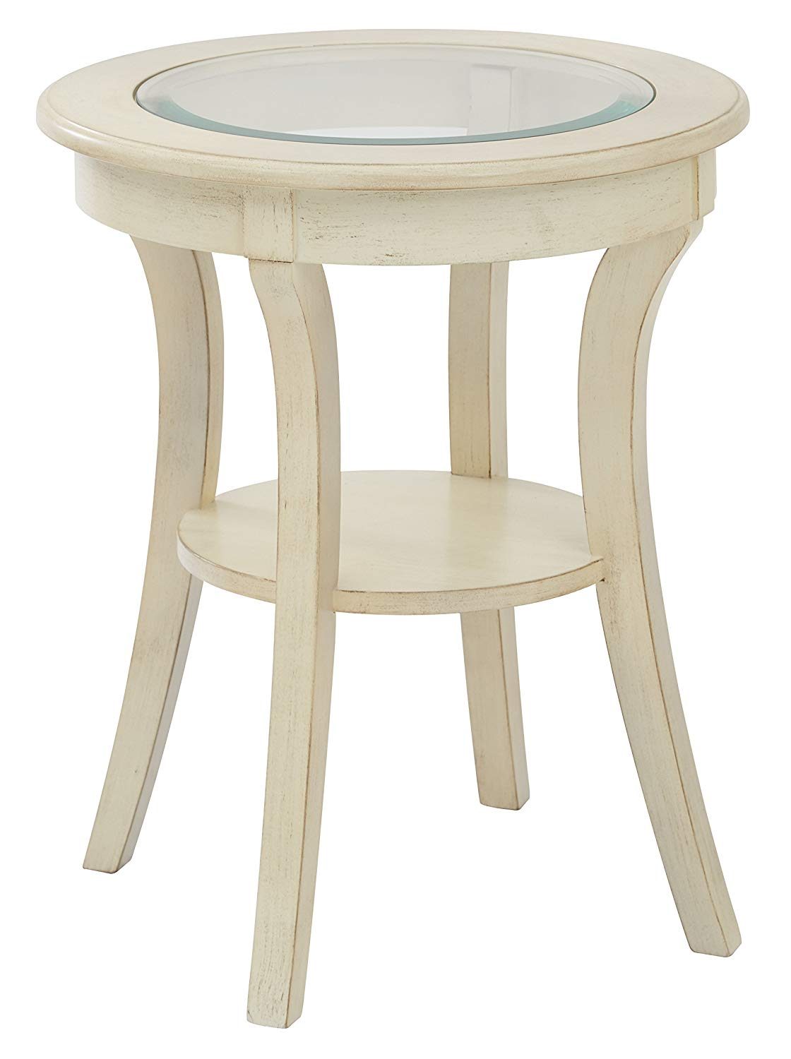 office star harper hand painted round accent table with wood and metal glass top antique white finish kitchen dining patio umbrella wine rack teal placemats napkins extra tall