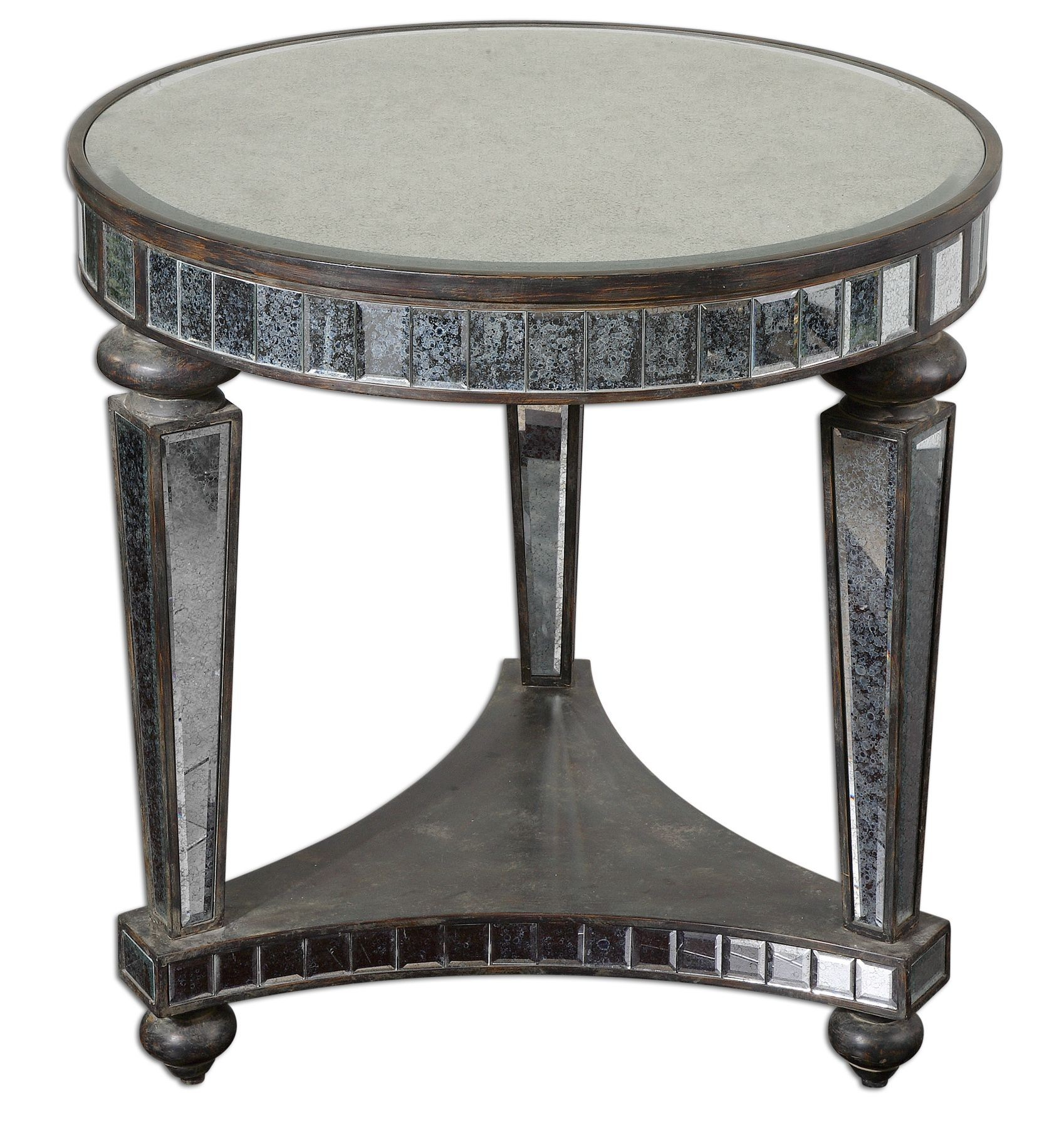old and vintage round mirrored accent table with shelves square antique gold black legs retro end tables storage space new home decor ideas small concrete dining plant holder
