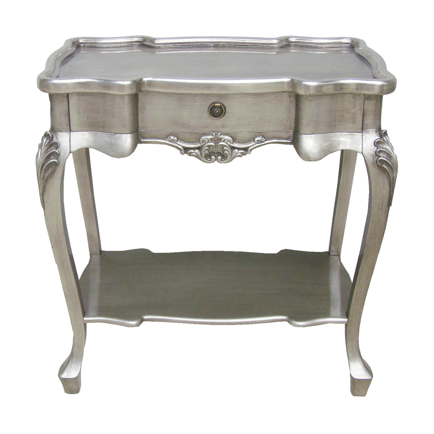 old and vintage style mirrored silver accent table with pedestal round home decor half moon console cabinet rust colored tablecloth matching lamps threshold windham collection