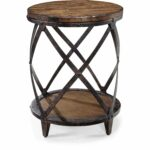 oliver james canova distressed pine wood round end table pinebrook industrial natural accent pub set small solid coffee tiffany stained glass chandelier patio parasol with drawer 150x150