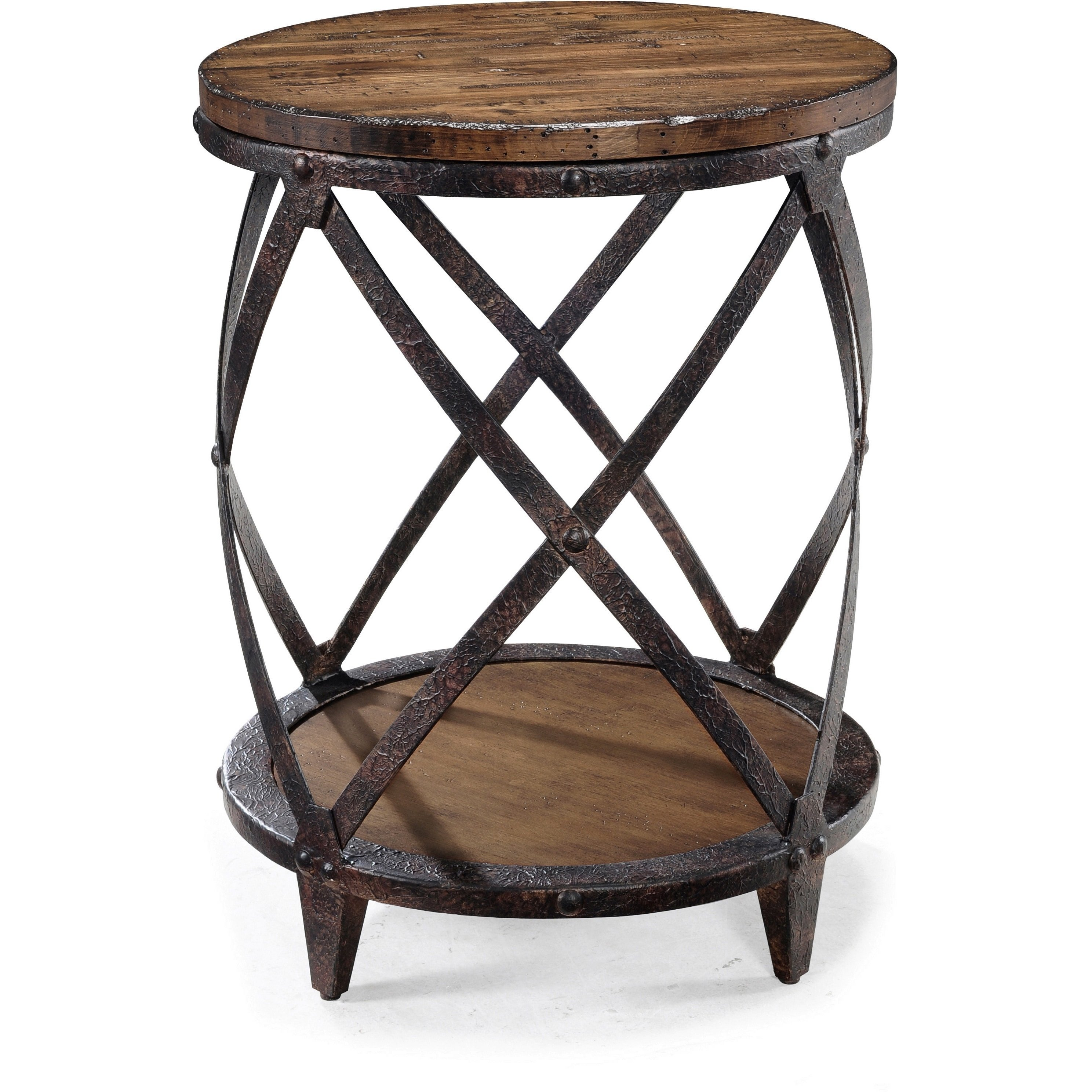 oliver james canova distressed pine wood round end table pinebrook industrial natural accent pub set small solid coffee tiffany stained glass chandelier patio parasol with drawer