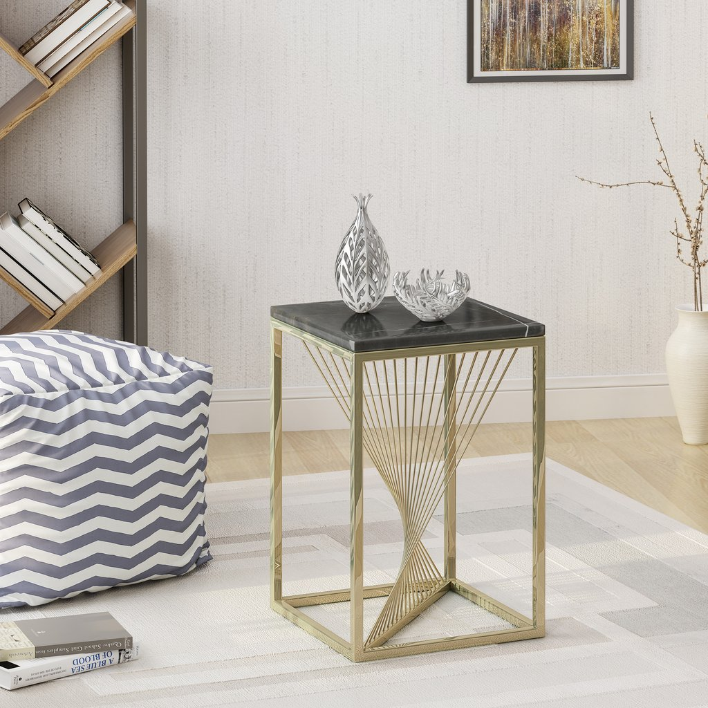 oliver modern faux marble accent table gdf studio gold and glass end grey dining room chairs high round bar contemporary side small plastic garden white oak asian lamps restaurant