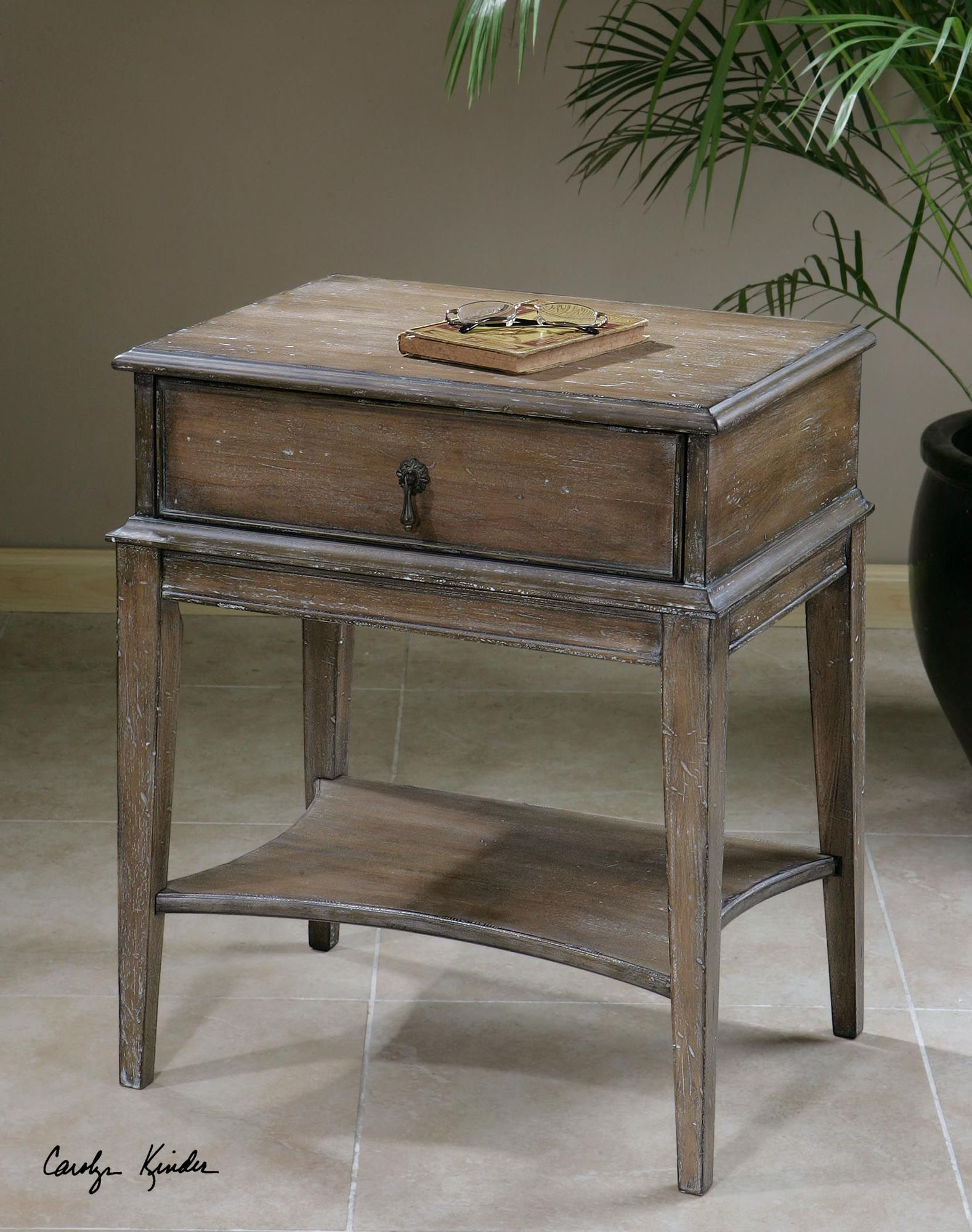 one drawer accent table weathered pine mathis brothers furniture contemporary round end barnwood dining square legs elastic covers marble coffee entryway bench living room sets