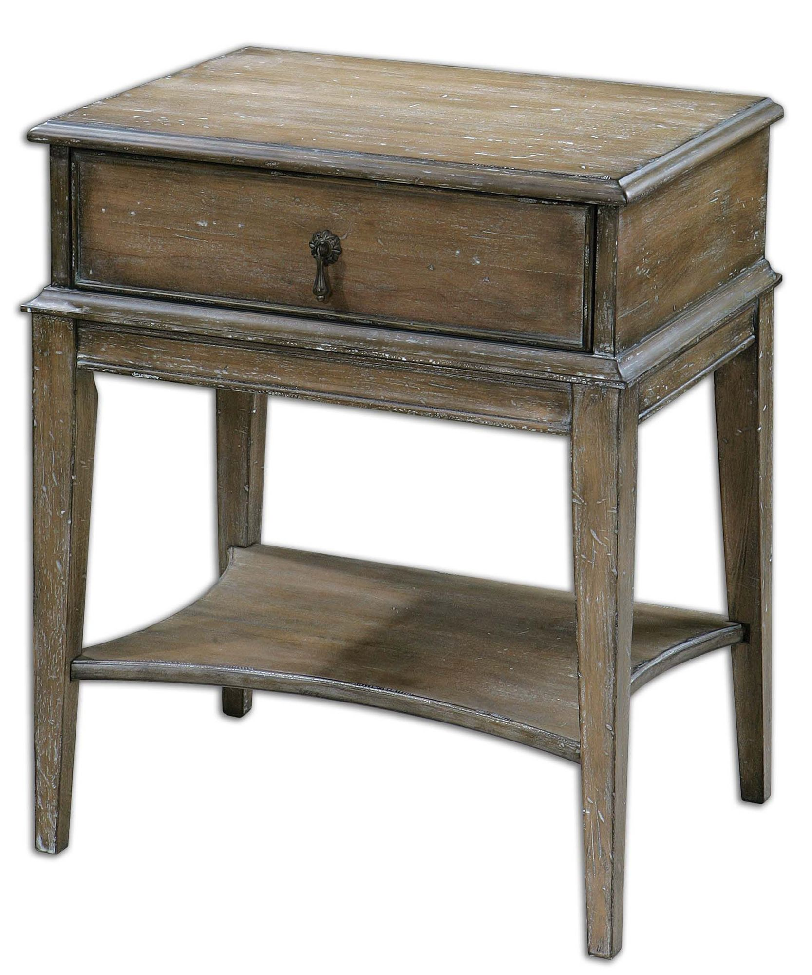 one drawer accent table weathered pine mathis brothers furniture dale tiffany northlake lamp black and white pottery barn reclaimed wood dining small outdoor patio oriental