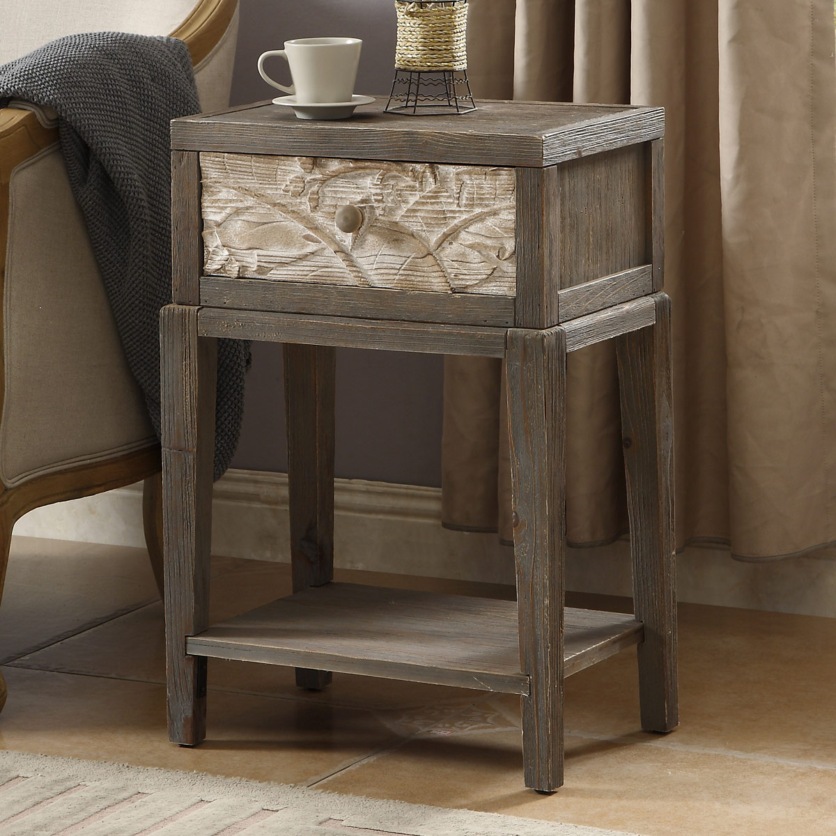 one drawer fir wood accent table coffee sets with storage round bronze small outdoor patio cement and benches target kindle fire living room contemporary marble drum stool