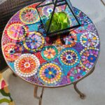 one look pier elba mosaic accent table and instantly think indoor summer patio parties with colorful hand applied top sturdy black metal wood coffee standard height white 150x150