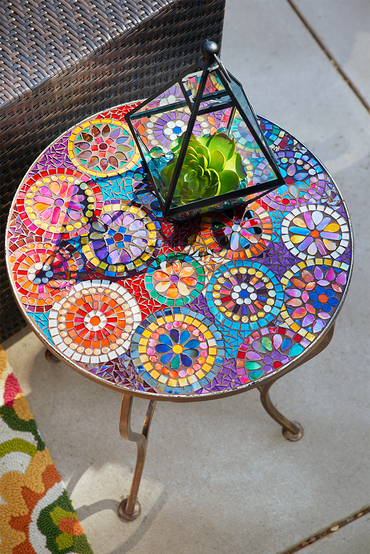 one look pier elba mosaic accent table and instantly think tile outdoor summer patio parties with colorful hand applied top sturdy the uttermost company antique gold console