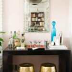 one room challenge living reveal thou swell dsc nate berkus glass agate accent table black parsons bar with pink wall and gold garden stools thouswellblog upcycled dining chairs 150x150