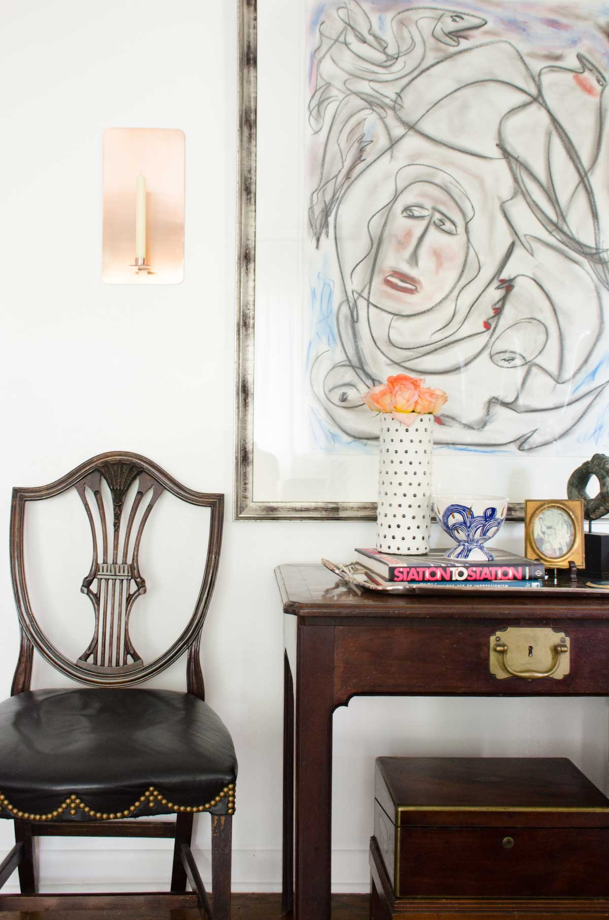 one room challenge living reveal thou swell dsc nate berkus glass agate accent table vignette from thouswellblog makeover thorton dial painting farmhouse and chairs pottery barn
