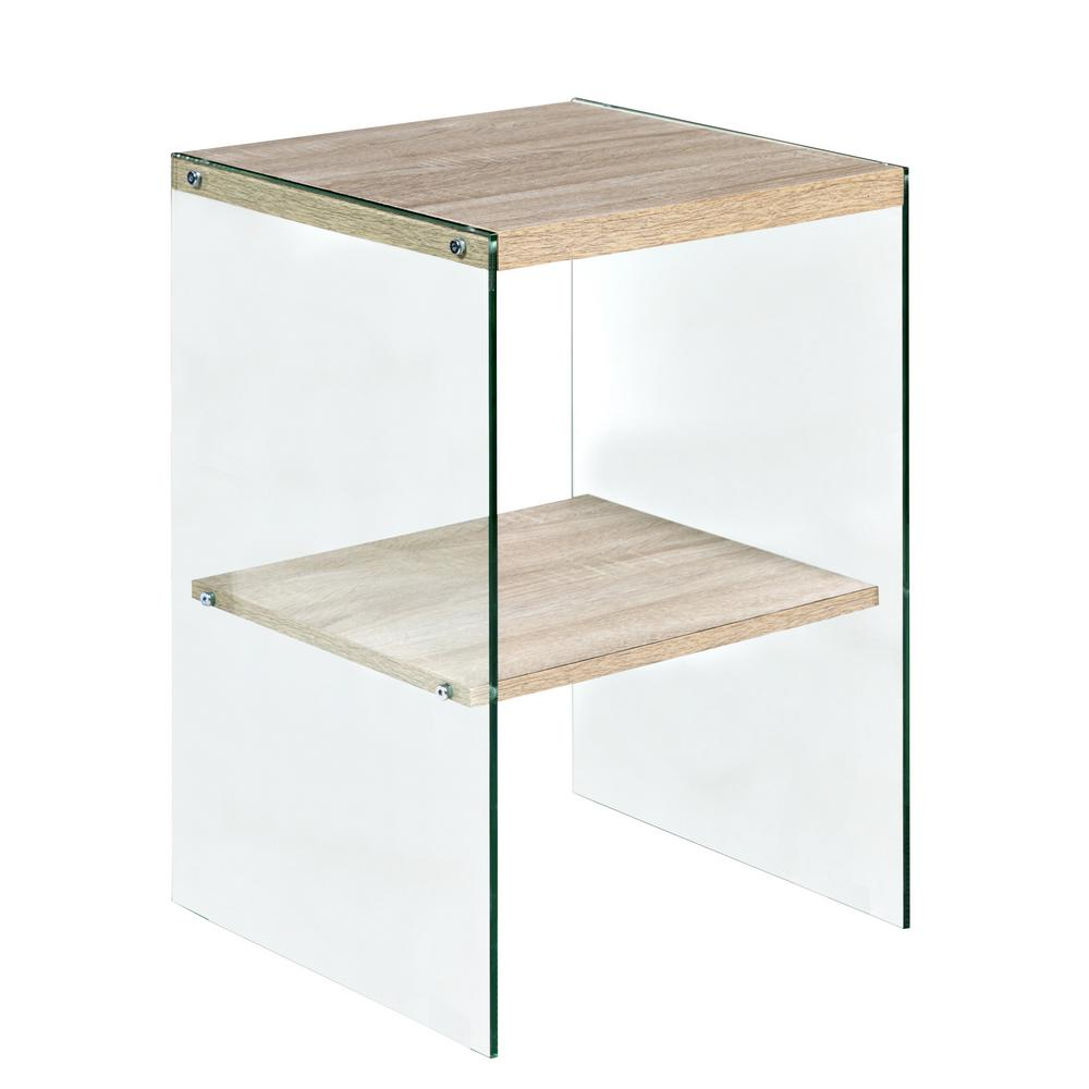 onespace escher skye accent end table glass and wood light oak tables mini leather living room sets storage box seat ikea breakfast set counter height trestle dining narrow coffee