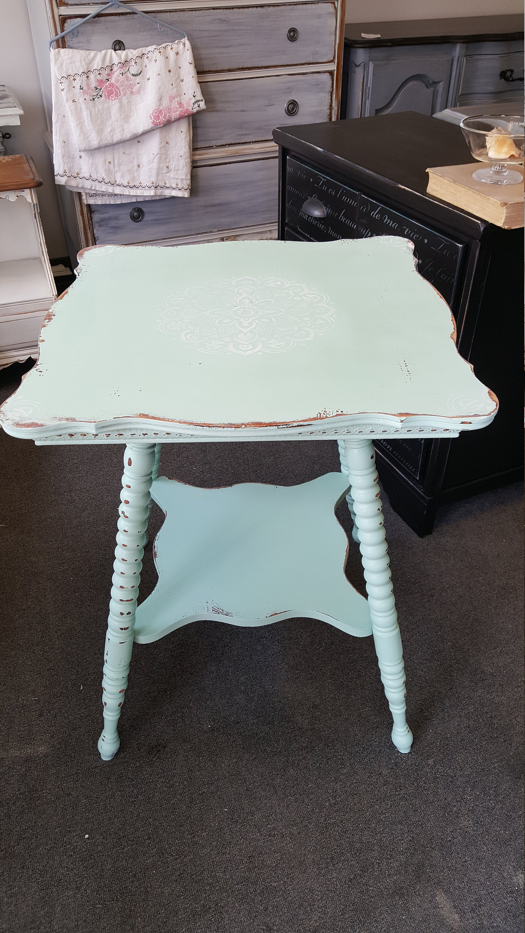 only vintage shabby chic table accent farmhouse accident shady grove road wall kitchen with stools kids bedroom sets small pedestal side counter height dining room floor tall