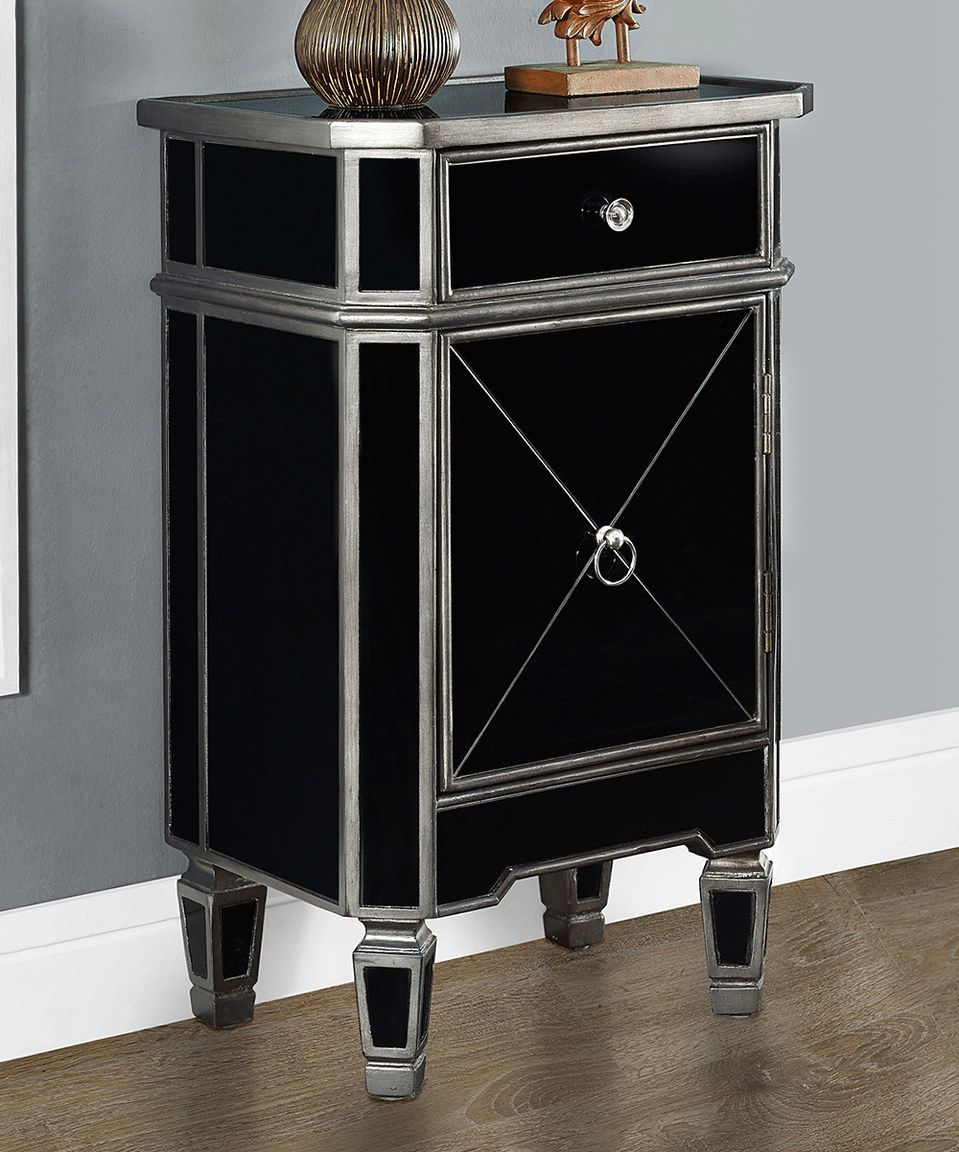ooh love the black brushed charcoal mirror single cabinet monarch mirrored accent table specialties zulilyfinds chair patio set target ott yellow side patterned rug pottery barn