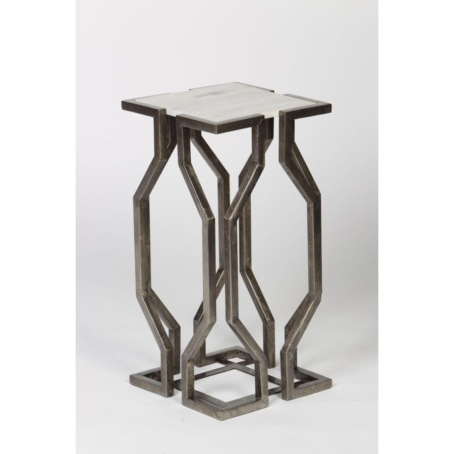 open geometic form accent table antique pewter finish with white marble top tiffany floor lamps tablecloth chestnut coffee thin end living room bbq grill ouroboros mouse tall pub