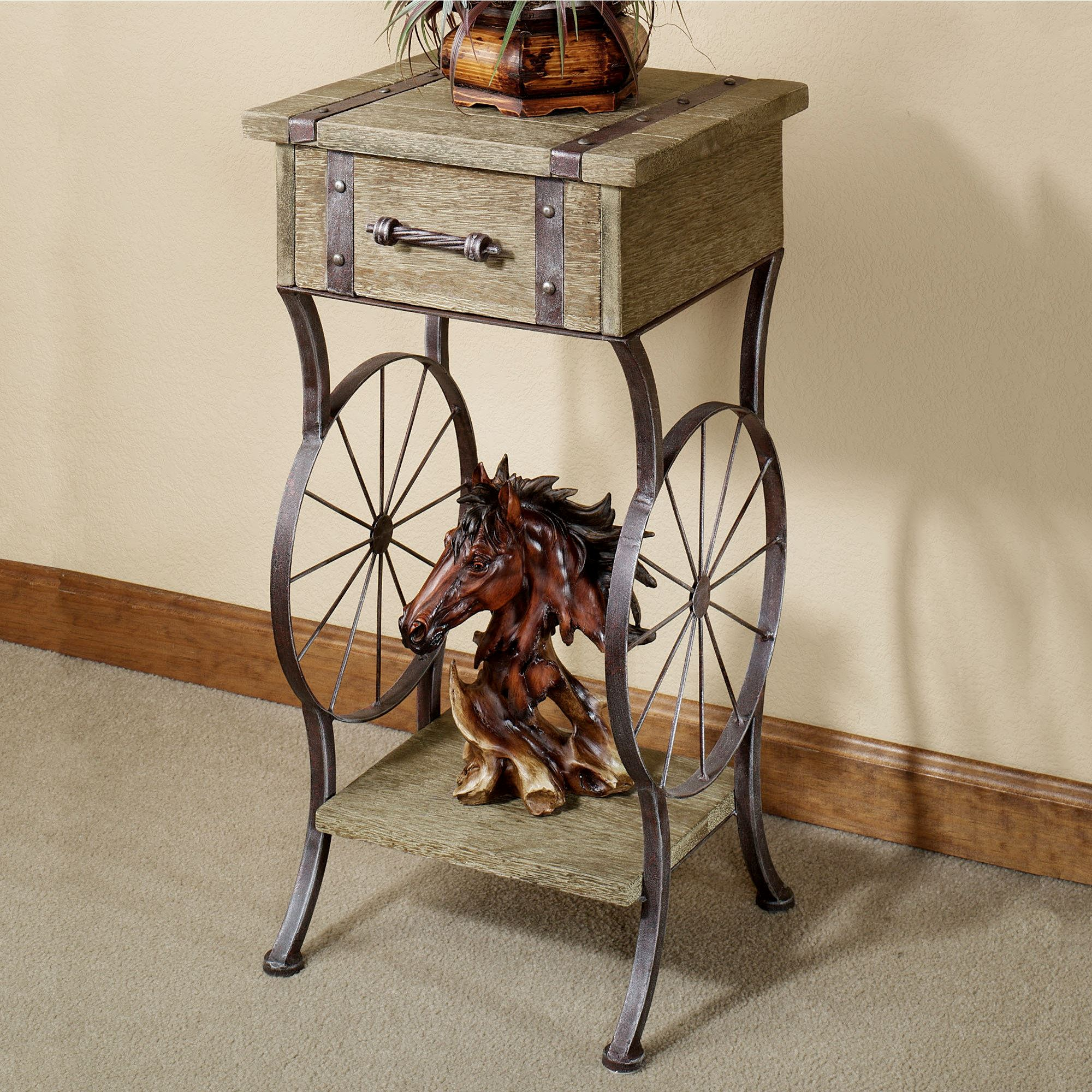 open range western accent table rustic metal brown touch zoom ikea white coffee vintage lucite chairside triangle side pier one imports and chairs cool bar cooler west elm glass