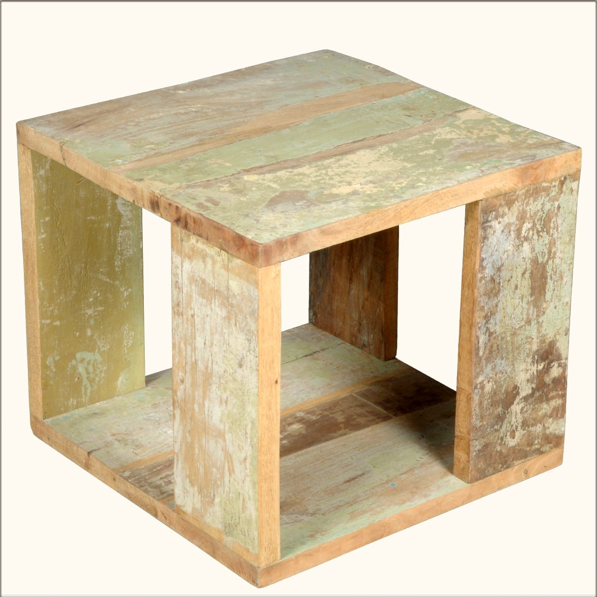 open sides reclaimed wood cube pedestal accent table rustic furniture tucson silver mirrored bedside tables the uttermost company baby changing pad patio umbrella hole insert