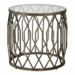 open silver fretwork drum accent table round end cage tribal mirrored pyramid barn door tures stained glass pendant light wooden frog instrument garden west elm mirror black side 150x150