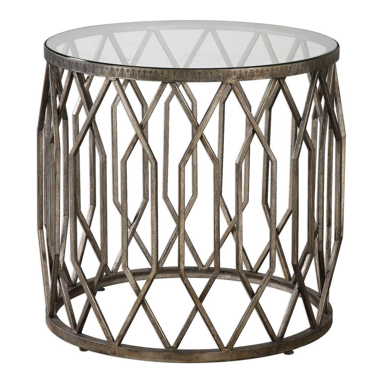 open silver fretwork drum accent table round end cage tribal storage decorative lamps that run batteries marble coffee target gold legs counter height gathering small black side