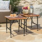 ophelia outdoor industrial acacia wood accent table itclfal iron quantity kitchen dining black and white striped patio umbrella ashley signature sofa round end tables penny 150x150