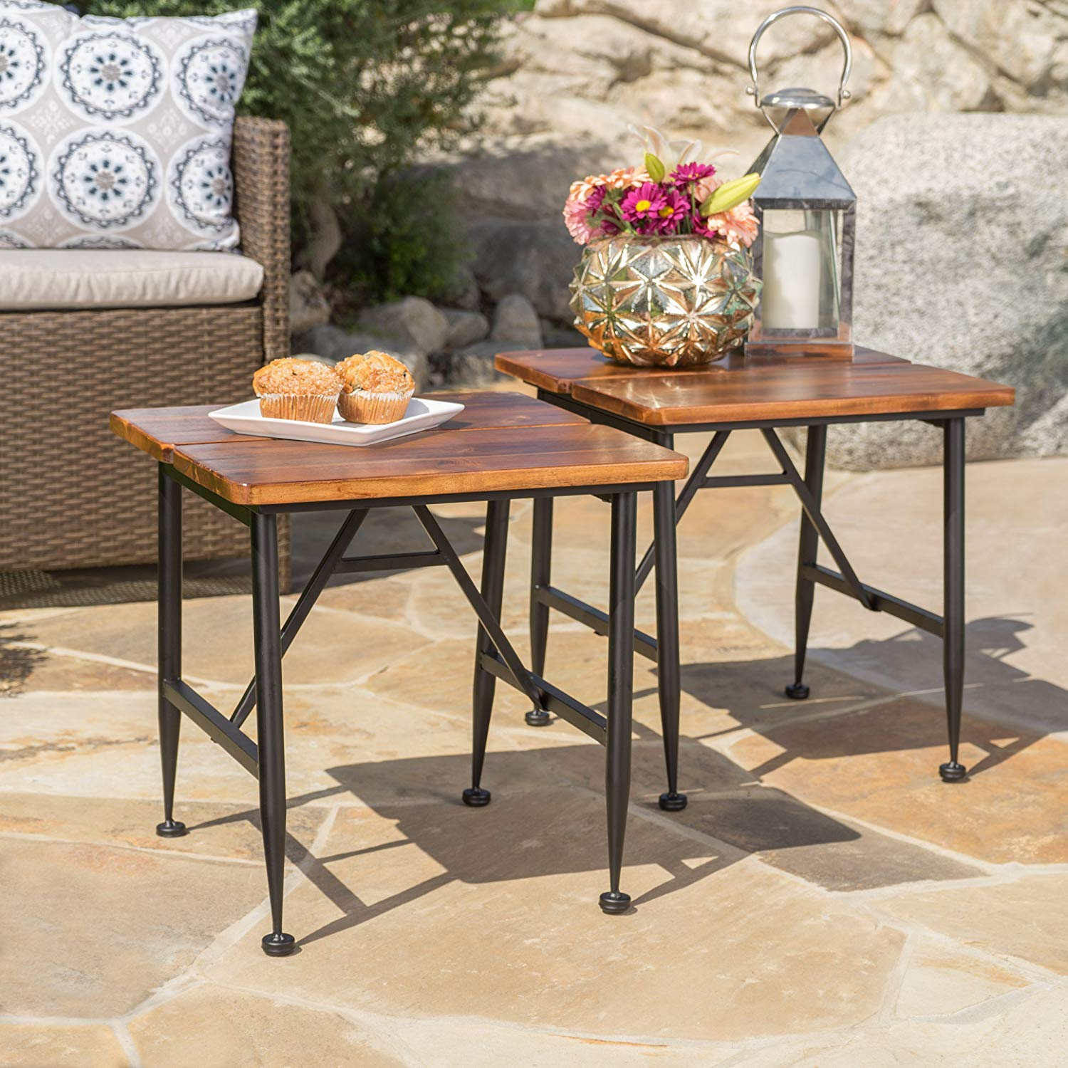 ophelia outdoor industrial acacia wood accent table itclfal iron quantity kitchen dining foosball backyard nic solid marble side stacking tables astoria grand bedroom furniture