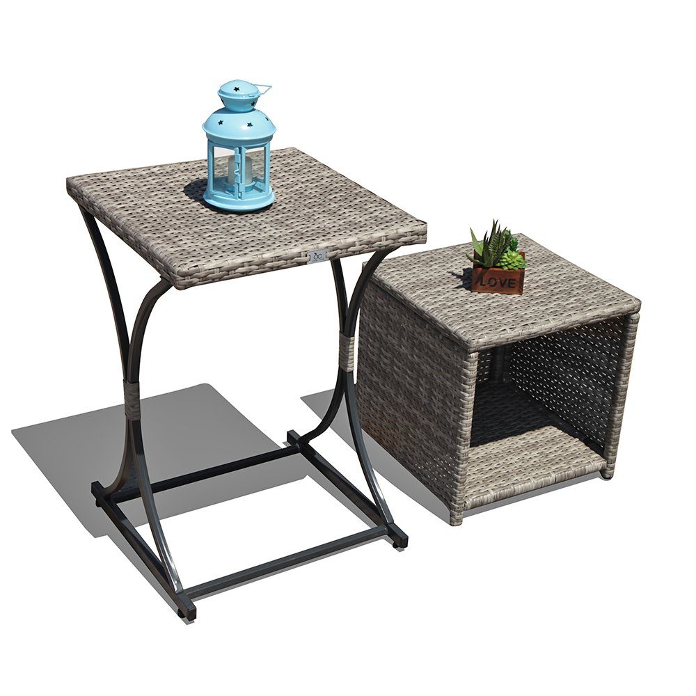 orange casual outdoor wicker side table multifunction end storage brown patio coffee for garden poolside set round glass top black mirrored modern accent with drawer and white