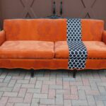 orange couch with patterned stripe colors velvet upholstered sofa mosquito netting high back accent chairs laura ashley dining leather furniture toronto perfect pillow upholstery 150x150