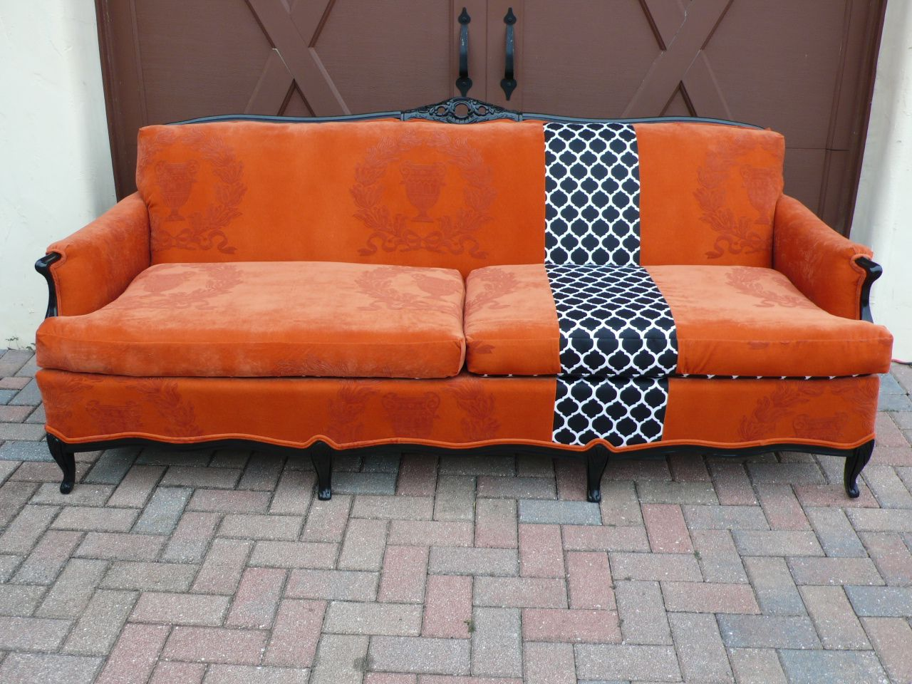 orange couch with patterned stripe colors velvet upholstered sofa mosquito netting high back accent chairs laura ashley dining leather furniture toronto perfect pillow upholstery