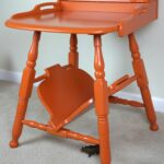 orange mid century accent table with semi gloss lacquer finish red wood rhino restoration unique nightstands west elm cushions bar stool room essentials winsome small drop leaf 150x150
