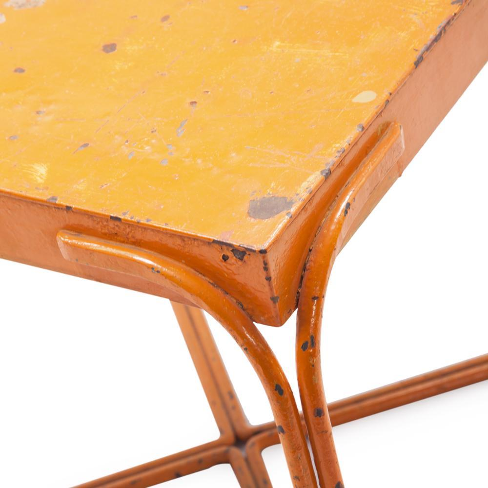 orange rustic outdoor side table modernica props yellow pier one clearance chairs large legs tree stump round dining with leaf mosaic garden small desk for bedroom antique tall