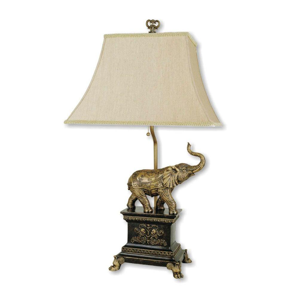 ore international elephant antique gold table lamp the lamps decorative accent pottery barn leather armchair zebra furniture round dining room tablecloths decor counter height