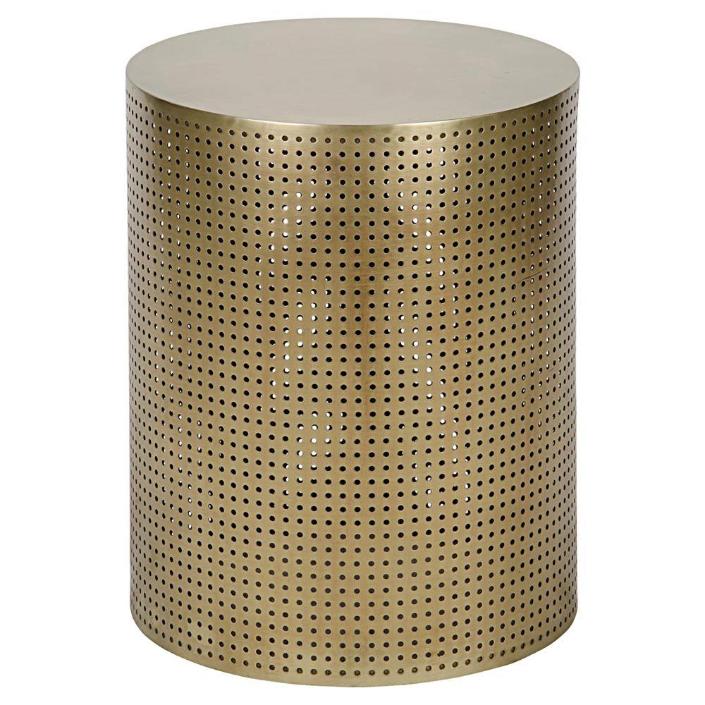 orelia modern gold brass metal mesh drum side table product accent kathy kuo home target dinosaur bedding square glass coffee clear lucite room decor pottery barn floor lamp small