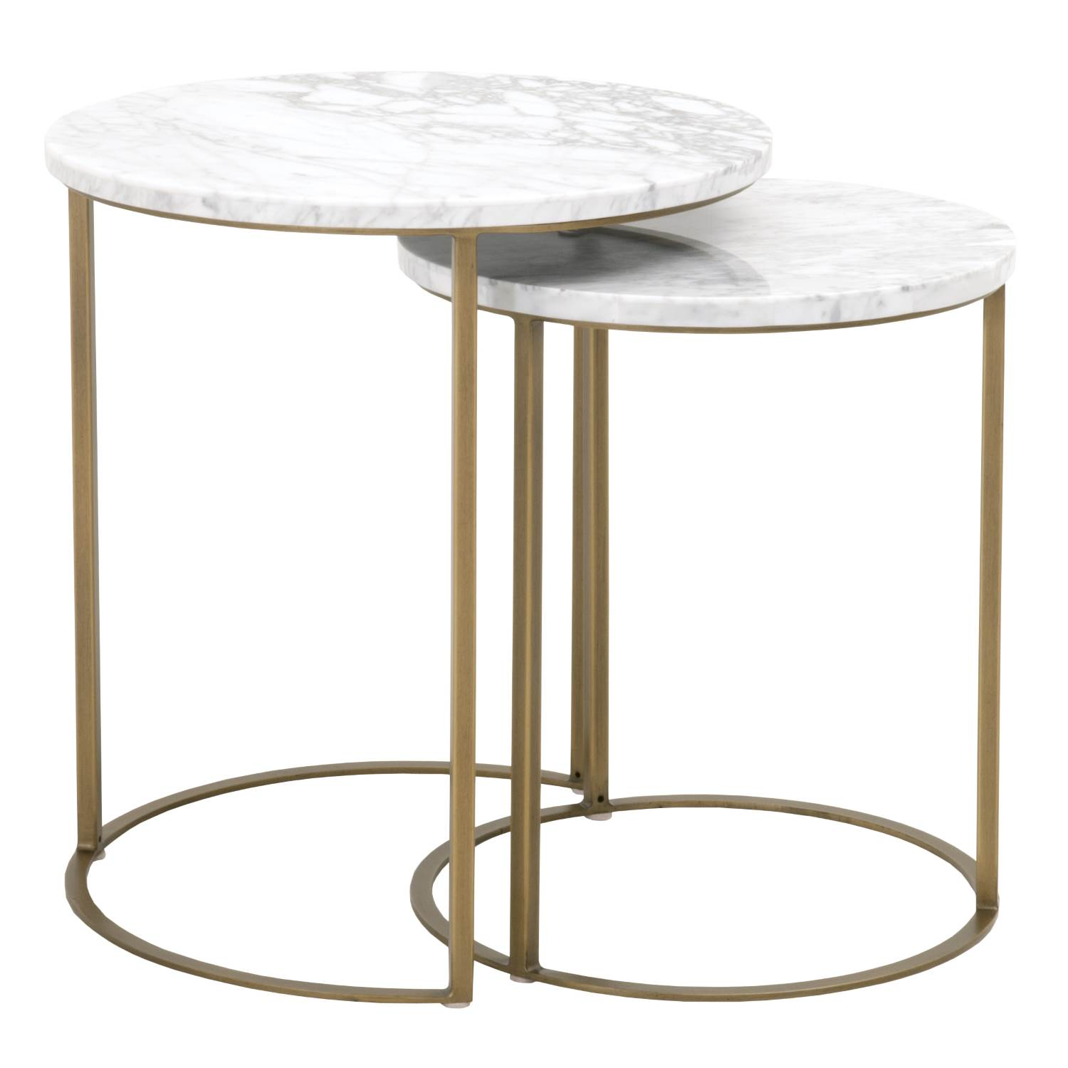 orient express carrera brushed gold white round nesting accent table oef click enlarge tall skinny side mirrored cube metal hairpin legs narrow sofa acrylic coffee tray inch cloth