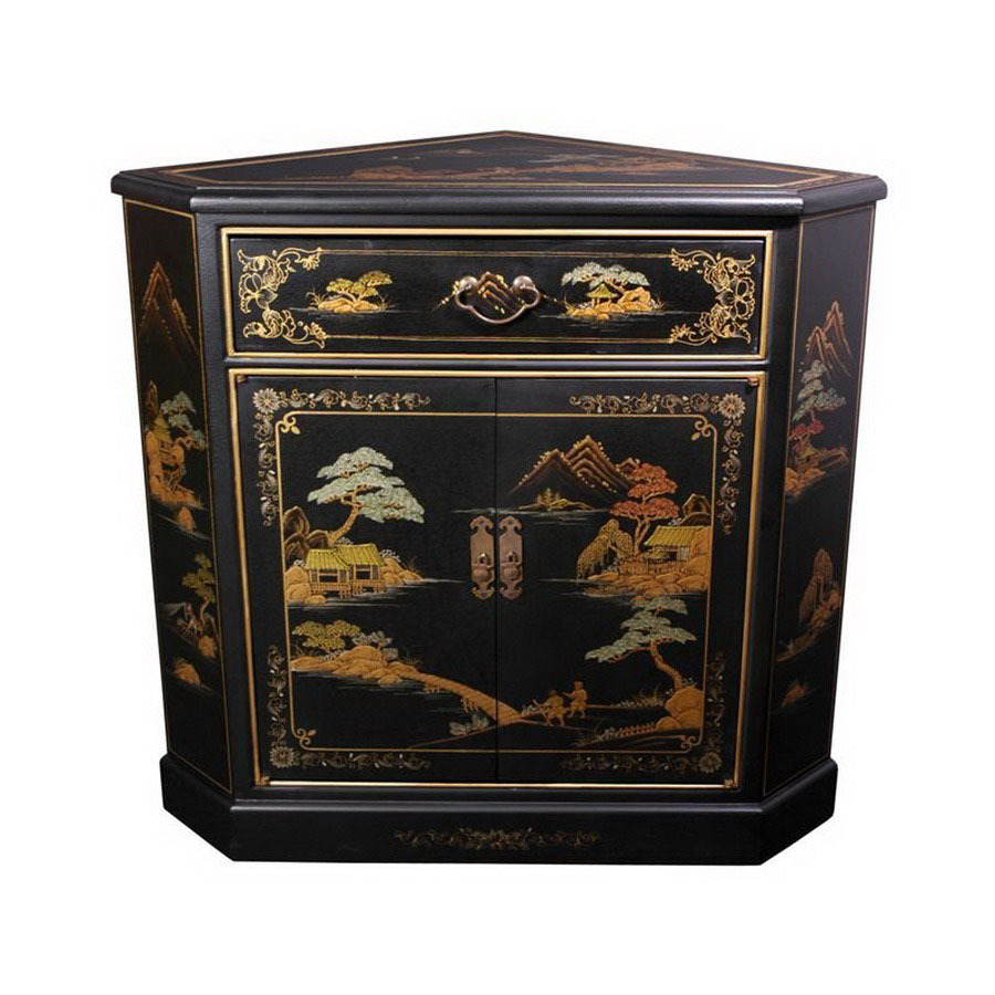 oriental furniture lacquer black office cabinet ese accent table set tables antique white narrow side for bedroom large silver lamps kitchenette and chairs club chair rustic end