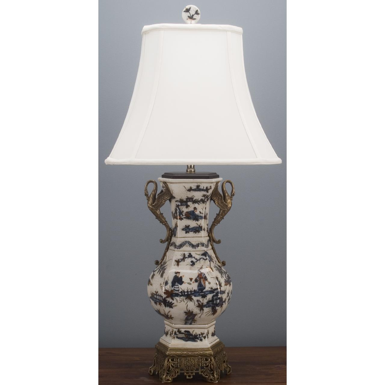 oriental porcelain blue and white swan vase lamp with bronze ormolu accent table lamps oak side shelf marble high top resin wicker small wooden drawers pottery barn plans black