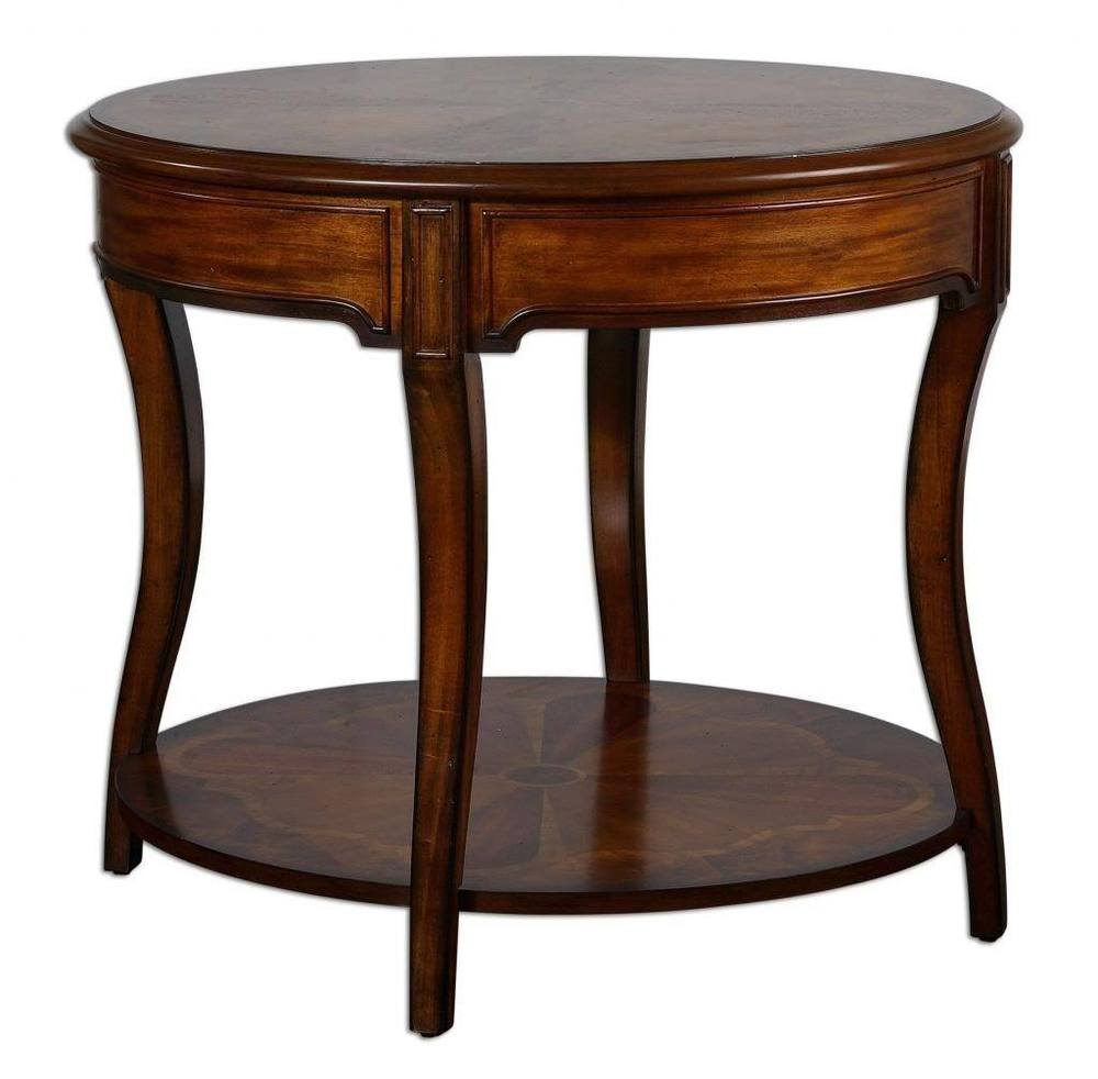 ornate inlaid burlwood round accent table cherry antique burl wood oval wooden legs and bases circular nest tables yellow dragonfly tiffany style lamp room essentials mirror