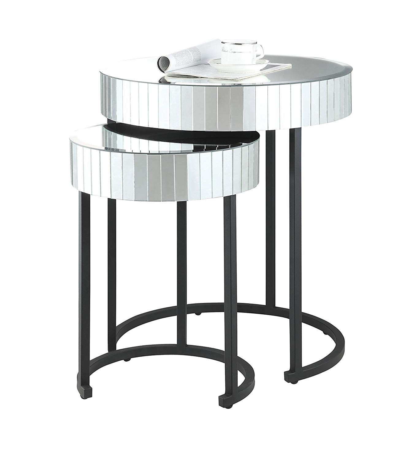 osp designs krystal round mirror accent tables kitchen distressed grey quatrefoil end table with dining white bedroom outdoor stool setting antique pedestal light pink high top