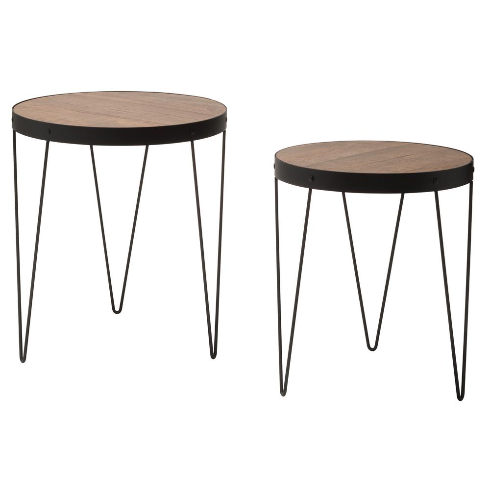 osp designs pasadena nesting calico matte black accent tables set coffee sbc table with rustic wood top dining and chairs small entryway chest living room accessories ideas