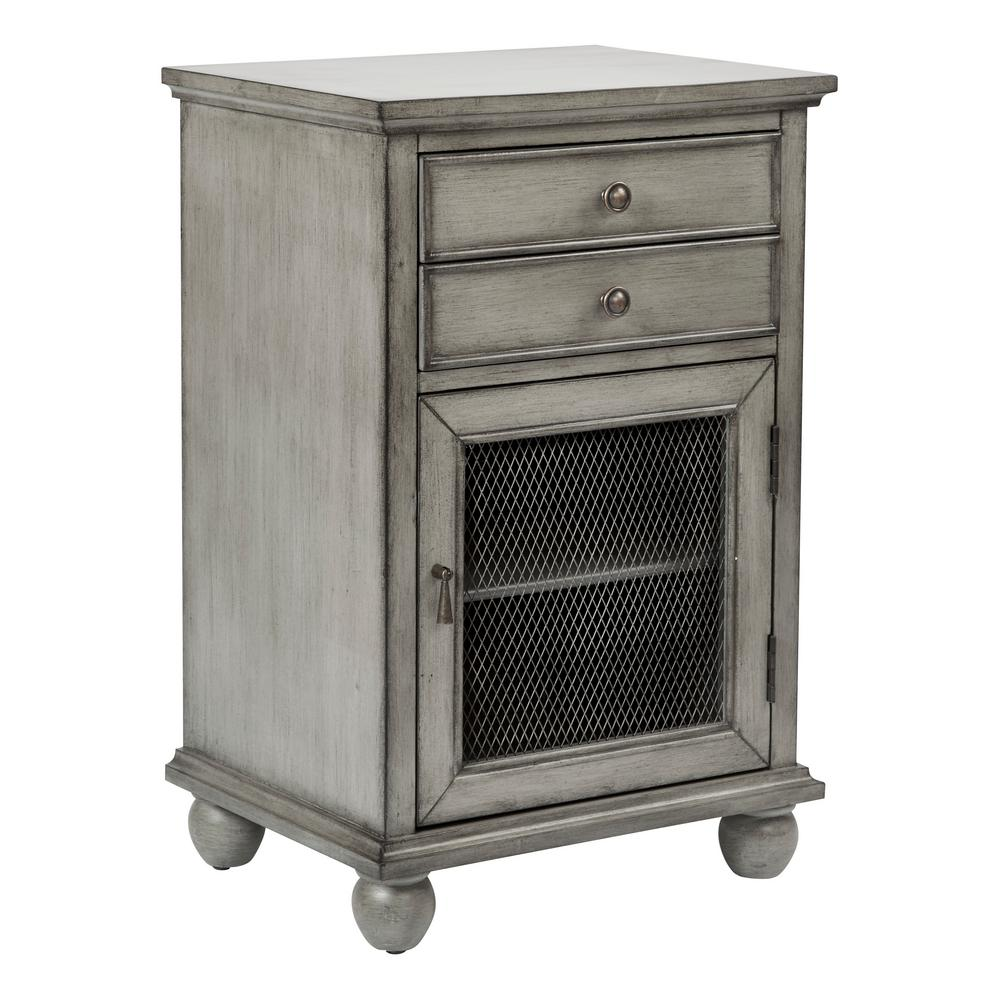 osp home furnishings alton antique ash grey storage cabinet hand painted finish office cabinets accent night table nautical end tables side lamps for bedroom clear console vintage