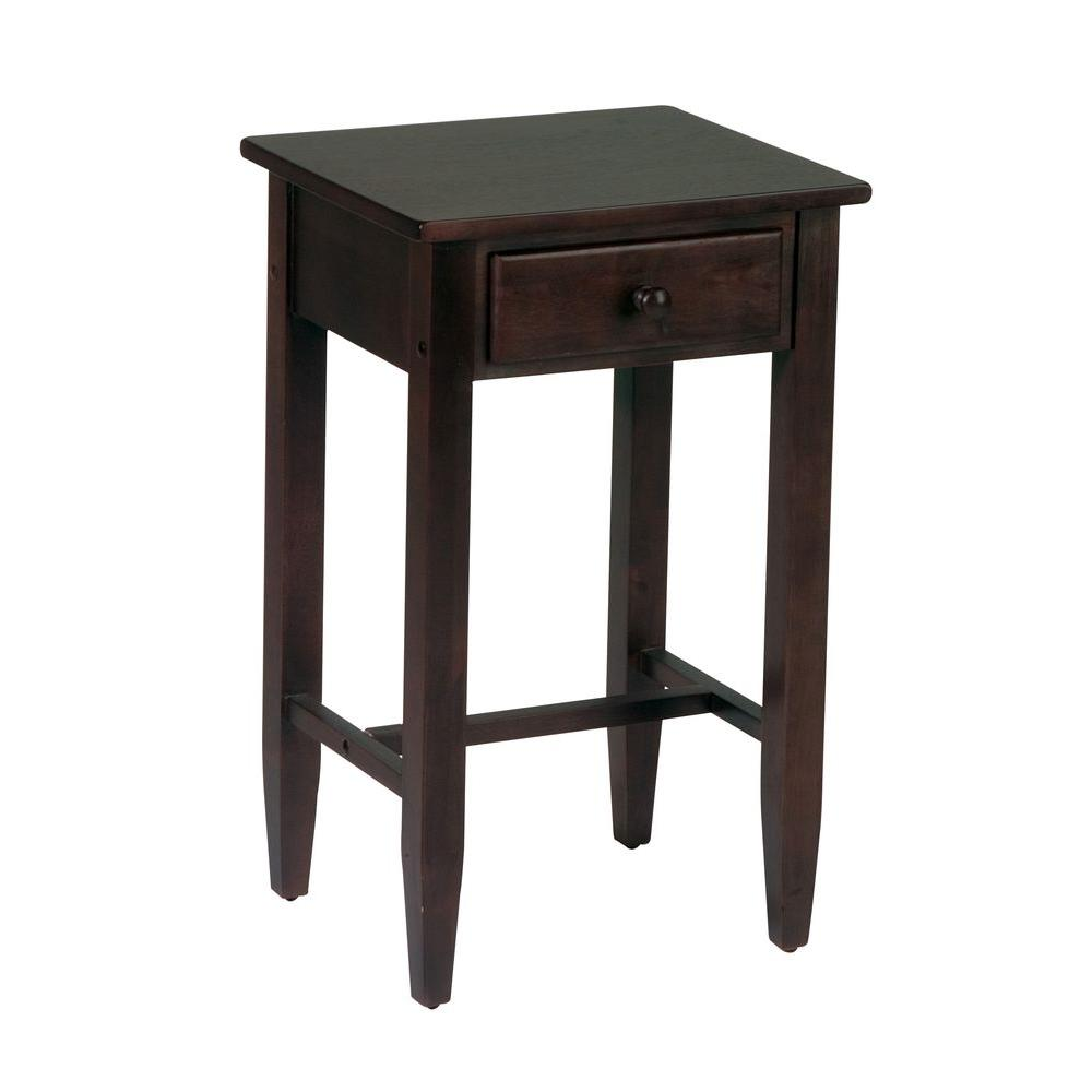 ospdesigns espresso storage side table the end tables avalon round accent mirrored inch console orange lamp kitchen mats stump timmy night black ceiling lights coffee leg ideas