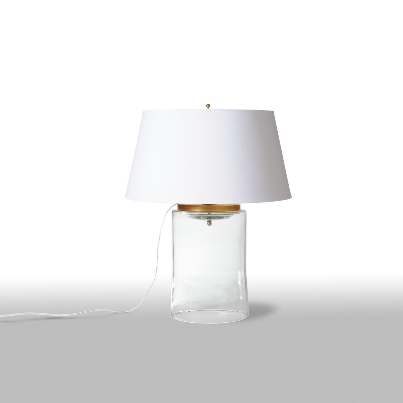 our barbara cosgrove chunky glass cylinder clear table lamp has nautical accent lamps vibe with its brass toned accents this dramatic french wired marble tulip side monarch hall