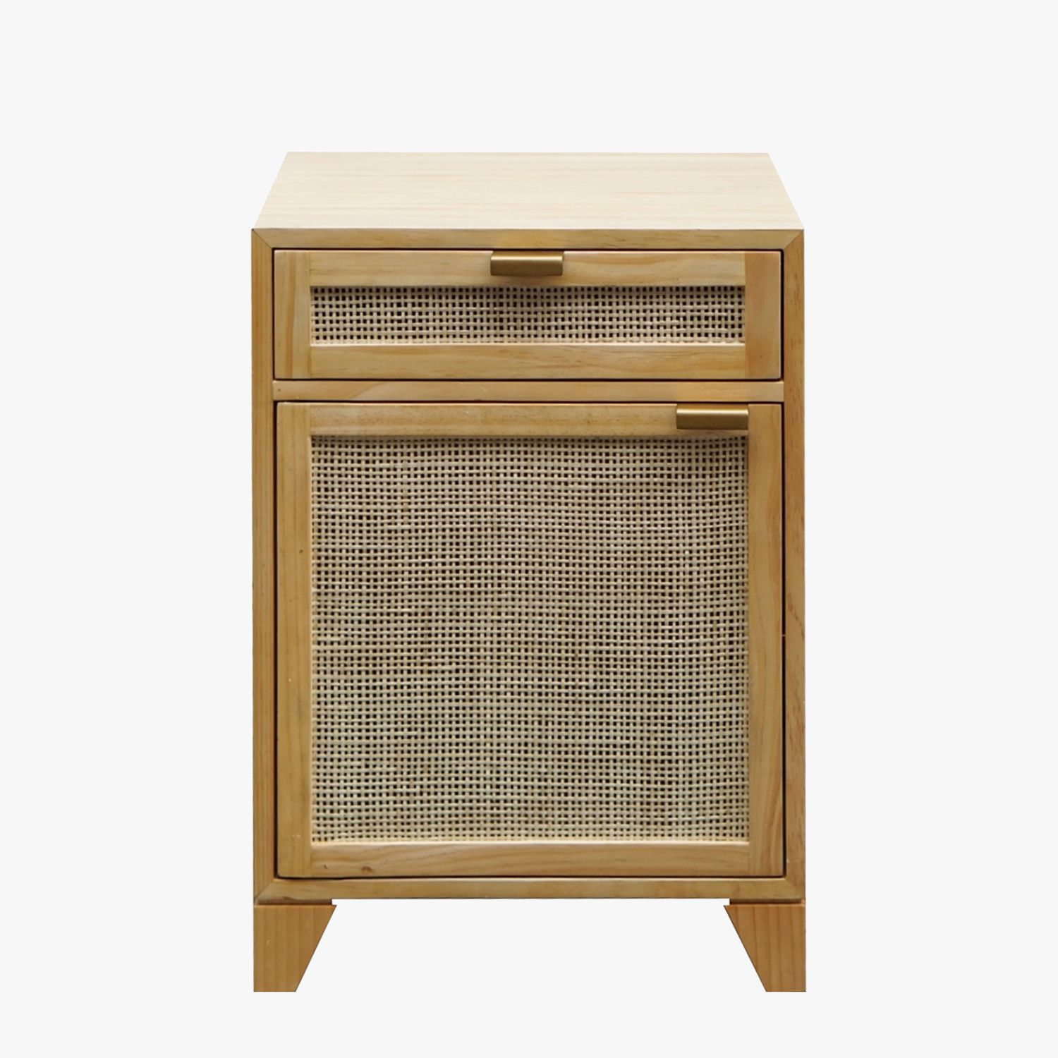 our nadine pine side table features textural cane front drawer and accent cabinet door for organic vibe perfect anywhere you need stylish glass marble living room shelves willow