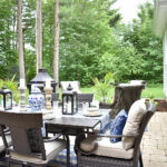 our new backyard patio reveal perfect for entertaining blue and white decor dining table canadian tire dashley outdoor tablescape side this gorgeous oasis lounge dine have great 150x150