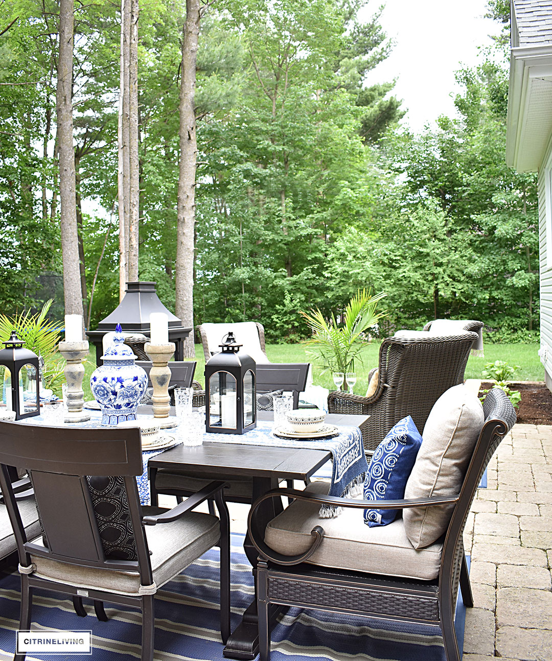 our new backyard patio reveal perfect for entertaining blue and white decor dining table canadian tire dashley outdoor tablescape side this gorgeous oasis lounge dine have great