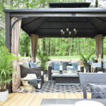 our new backyard patio reveal perfect for entertaining canadian tire dashley gazebo outdoor lounge area and with blue white decor accessories side table create the lounging your 150x150