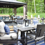 our new backyard patio reveal perfect for entertaining outdoor blue and white tablescape canadian tire dashley table gazebo dining chairs side this gorgeous oasis lounge dine have 150x150
