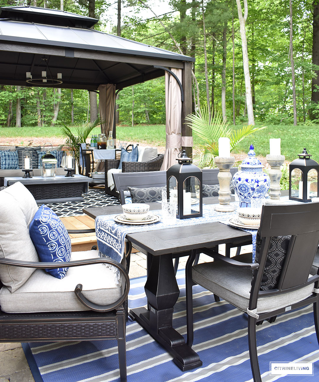 our new backyard patio reveal perfect for entertaining outdoor blue and white tablescape canadian tire dashley table gazebo dining chairs side this gorgeous oasis lounge dine have
