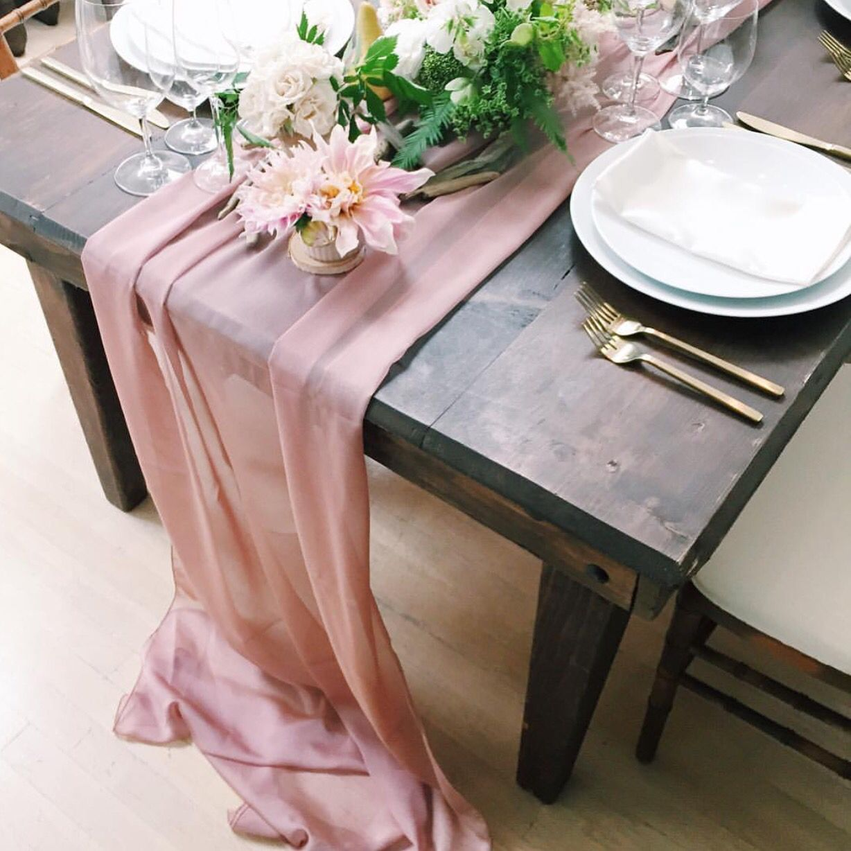 our new blush color chiffon makes for beautiful runner event accent your focus table planner jubileelau florals michaeldaigiandesign wildflowerlinen target curtain rods outdoor