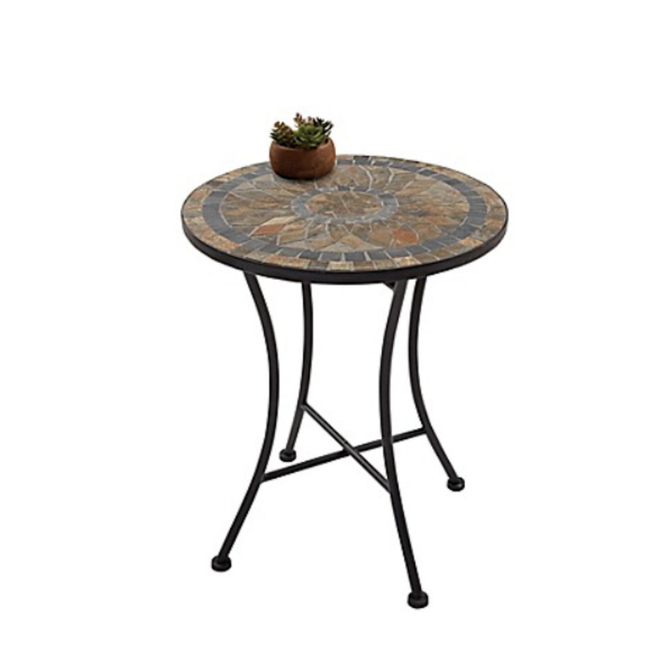 outdoor accent table mosaic stone iron patio yard garden side decor furniture clear acrylic end decorative trunks antique brass reclaimed wood coffee sofa with chairs bar height